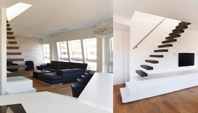 Przykład zastosowania schodów w nowoczesnym salonie.