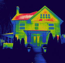 termowizja - obraz z kamery domu jednorodzinnego