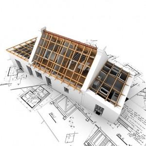 Zrzut projektu 3D domu jednorodzinnego z niedokończonym pokryciem dachu.
